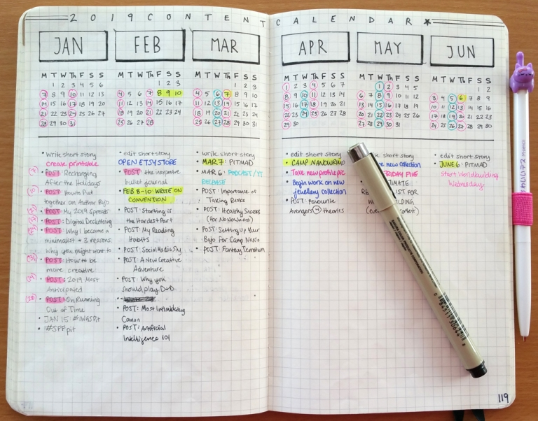 Yearly Content Calendar Spread for Bullet Journal