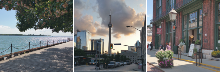 pictures of toronto, the harbourfront, the cn tower and the distillery district