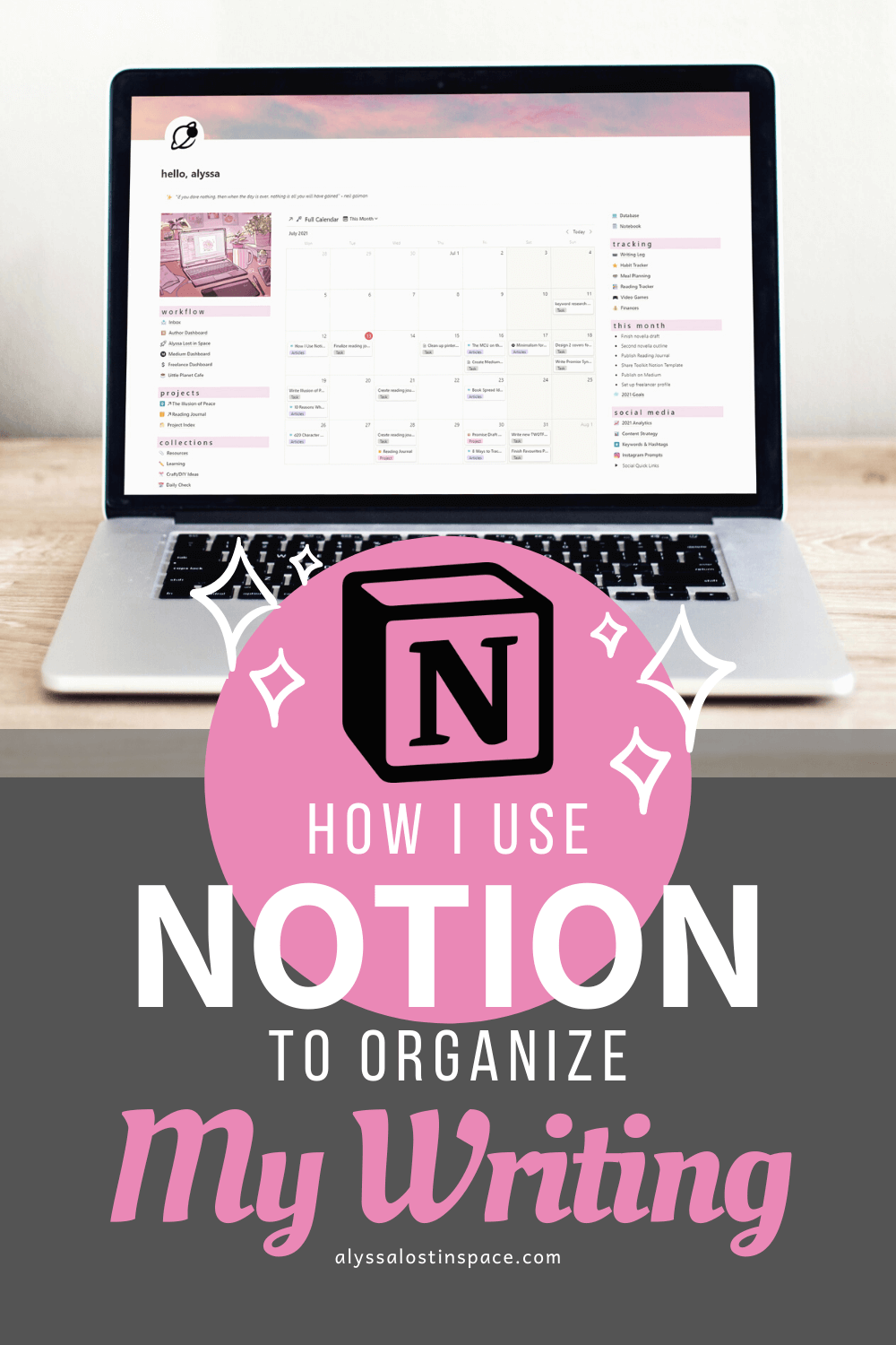 how i use notion to organize my writing