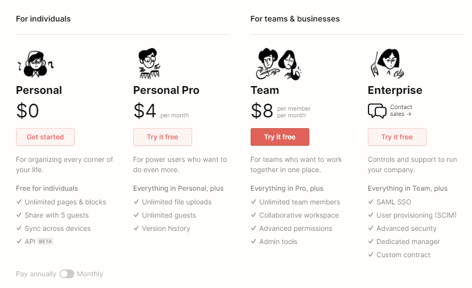 Notion pricing. Notion has four tiers of payment plan, including one that is free.