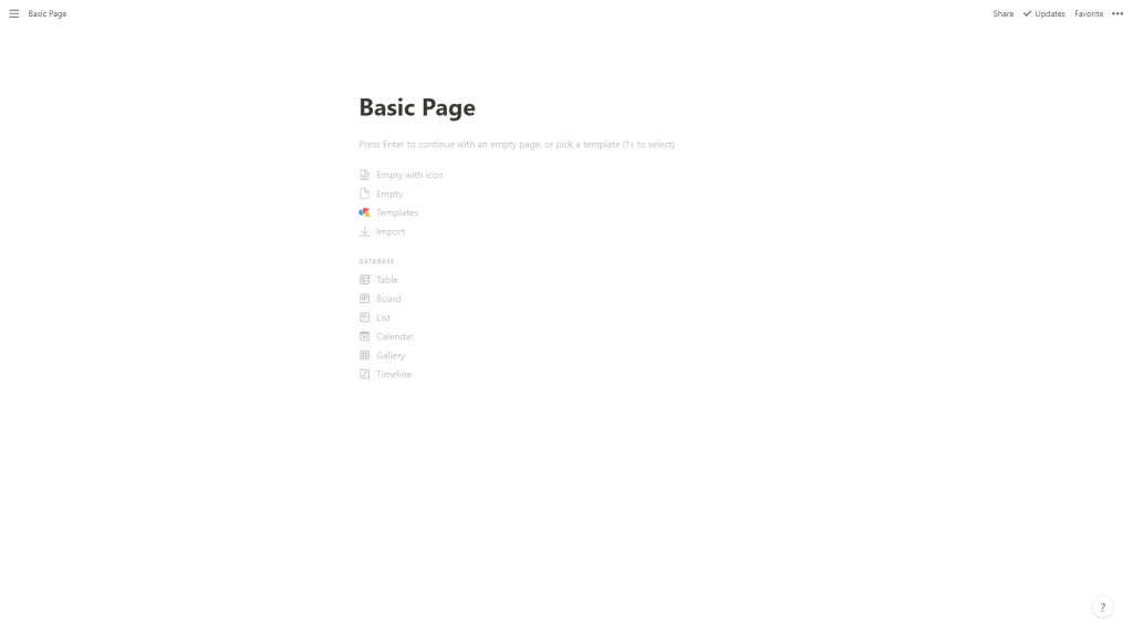 The basic Notion app UI. Super clean and uncluttered.