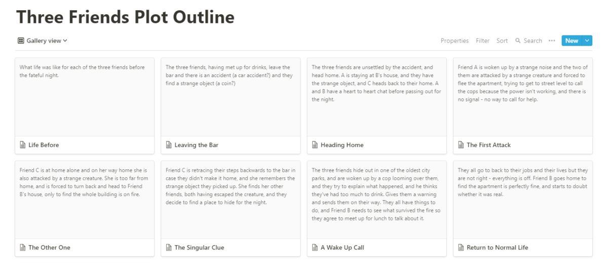 notion gallery view as card-style plot outline